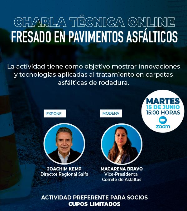 """Inscríbete en la Charla Técnica Online: """"Fresado en Pavimentos asfálticos"""""""