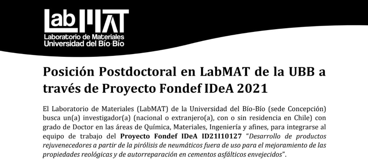 Posición Postdoctoral en LabMAT de la UBB a través de Proyecto Fondef IDeA 2021